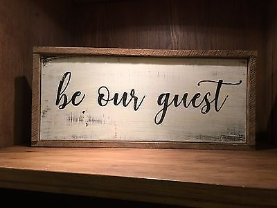 be our guest Rustic Distressed farmhouse style framed Wood Sign, FREE SHIPPING