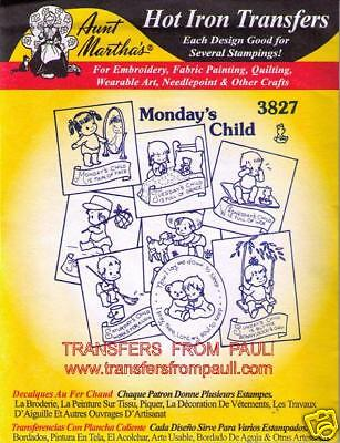 Monday's Child Aunt Martha's Hot Iron Embroidery Transfer #3827