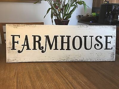 Large Farm House Rustic Distressed Kitchen Fixer Upper Style White Wood Sign