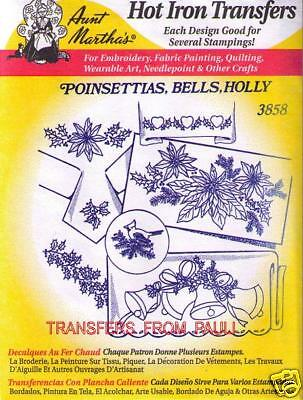 Poinsettia Bells Holly Aunt Martha Hot Iron Embroidery Transfer #3858