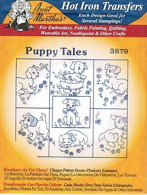 Puppy Dog Tales Aunt Martha's Hot Iron Embroidery Transfer #3879