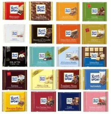RITTER SPORT Chocolate Collection - three (3) Bars of your choice -