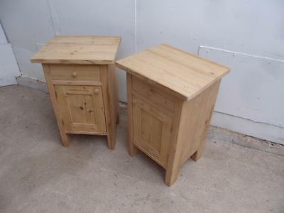 A Superb Pair of Antique Pine Bedside Cabinets to Wax/Paint