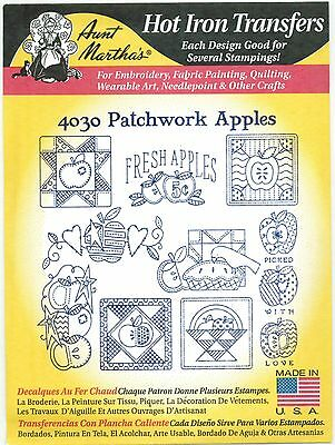 Patchwork Apples Aunt Martha's Hot Iron Embroidery Transfer #4030