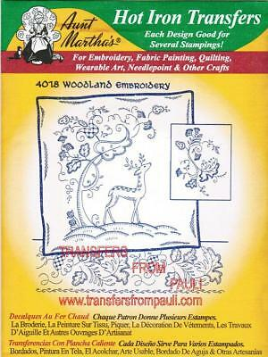 Woodland Scenery Aunt Martha's Hot Iron Embroidery Transfer Patterns #4018
