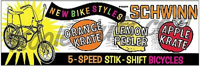 Schwinn Bicycle Krate Sting-ray Window Banner / Poster - 1960's Recreation