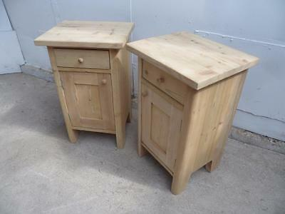 A Lovely Pair of Rounded Edge Antique Pine Bedside Cabinets to Wax/Paint