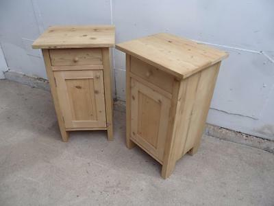 A Lovely Tall Pair of Antique Pine Bedside Cabinets to Wax/Paint