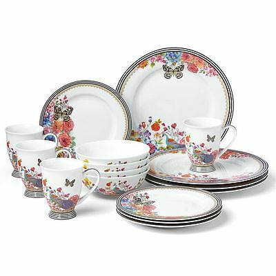 Lenox Melli Mello ~ 16-Piece Porcelain Dinnerware Set ~ Butterfly Peacock ~ NIB