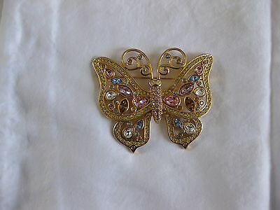 Vintage Swarovski Gorgeous Large Multi Colored Butterfly Brooch Pin Rare