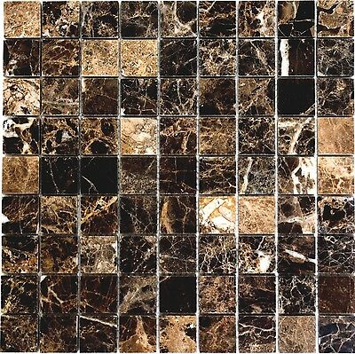 BROWN polished Mosaic tile Square MARBLE naturalstone WALL & FLOOR - 42-1306_b
