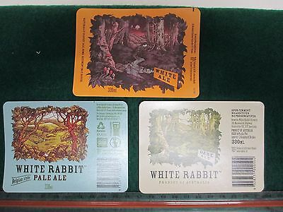 3x Assorted White Rabbit Micro Brewery Beer Labels
