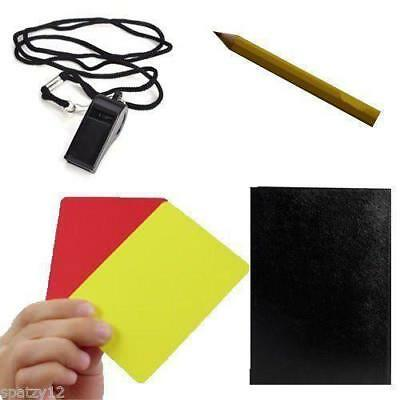 Football Referee KIT Whistle Red Yellow Pocket Set Rugby CARDS REF GAME SCORE