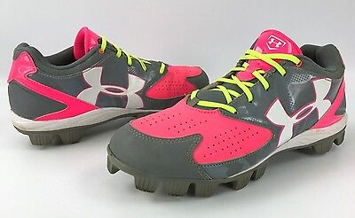 Women's Under Armour 1264181-065 Glyde Softball Baseball Cleats Pink/Gray Sz 9