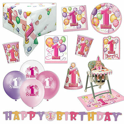 Unique Girl's Pink 1st Birthday Party Supplies Tableware Balloons Cups Listing