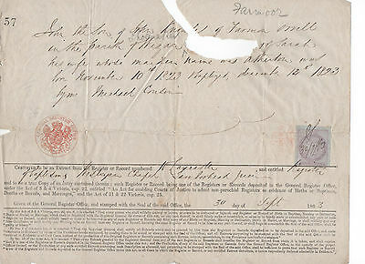 Antique Baptism Certificate for John Knowles Born November 10th 1823