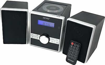 Denver MCA-230 Micro CD Player Hi-Fi Music System FM Radio Remote Control Clock