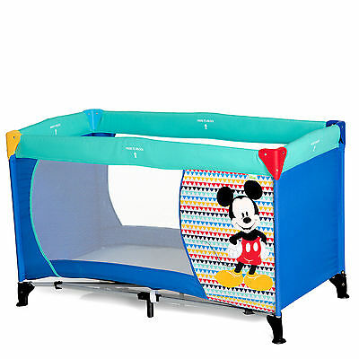 New Hauck Disney Dream N Play Baby Travel Cot / Portable Playpen Mickey Geo Blue