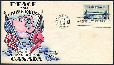 "#961 ""usa - Canada Friendship"" On Knapp Handpainted 1St Day Cover Cachet Bt8304"