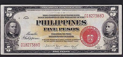 US Philippines Banknote 1936 Treasury Certificate 5 peso SN# D1827388D