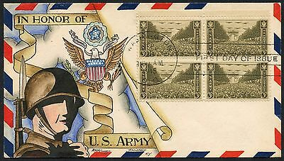 "#934 Block/4 ""u.s. Army On D.w. Knapp First Day Cover Cachet Handpainted Hw2827"