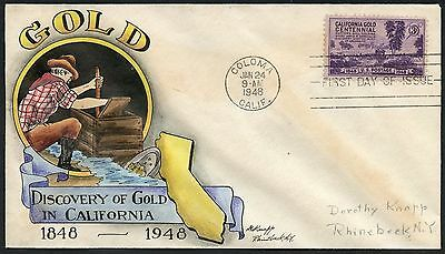 "#954 ""california Gold"" On Dorothy Knapp 1St Day Cover Handpainted Cachet Hw2830"