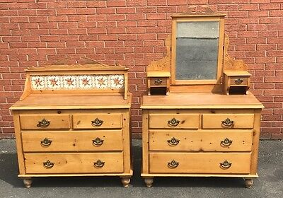 Victorian Pine Washstand Plus Matching Dressing Table Original