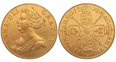 1712 24k GOLD PLATED Queen Anne 1 Guinea United Kingdom - COPY COIN