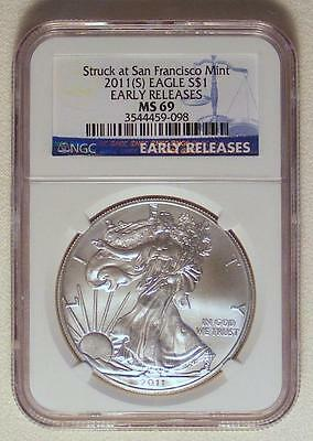 NGC EARLY RELEASES MS69 2011 (S) American Silver Eagle SAN FRANCISCO MINT!!
