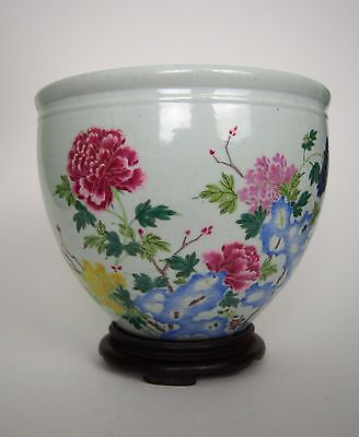 A Famillr Rose Pot with Wooden Stand, Possibly Yongzheng Period