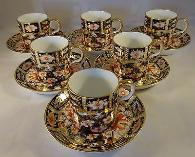 Set Of 6 Antique Royal Crown Derby Imari 2451 Coffee Cups Cans & Saucers 1915