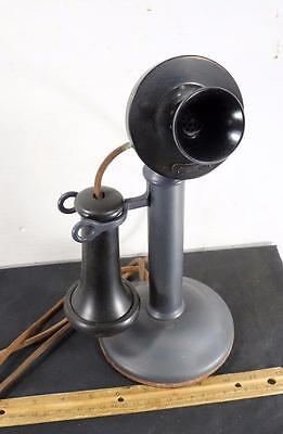 OLD WESTERN ELECTRIC CANDLESTICK 40AL TELEPHONE 323BW Gun Metal Finish !