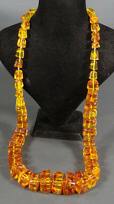 145 Grams Large Brutalist Big Honey Mosaic Amber Geometric Beads Necklace Choker