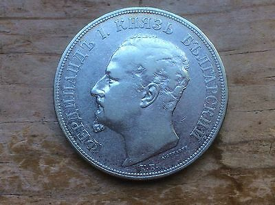 1892 Bulgaria 5 Leva silver crown @@ sharp coin and mint luster must see@@