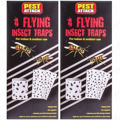 8 x STICKY FLYING INSECT BUG CATCHER Odour Free Mosquito Wasp Catch & Kill Trap