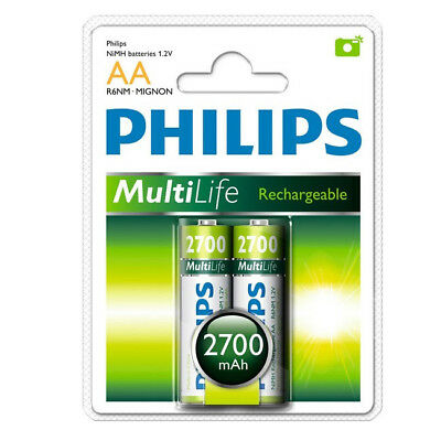 2 x Philips Multilife 2700 mAh R6 NiMH AA Rechargeable Batteries