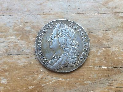 1757 British 6 Pence King George Ii- High Grade -