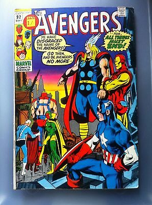 The Avengers #92 1971 Marvel Comic Bronze Age Nice Condition