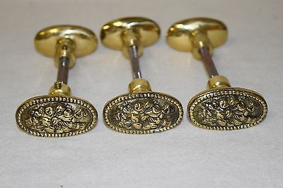 3 Sets Vintage Heavy Solid Brass Door Knobs With Spindles / Stems