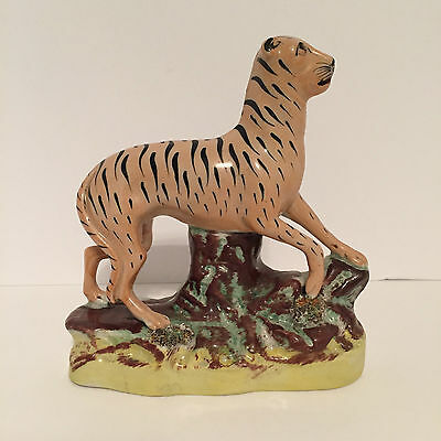 Antique Staffordshire Tiger Coloured in the Round on a Shaped Base c.1860
