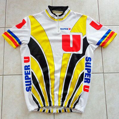 Maillot cycliste vintage SUPER U, cycling shirt - Années 80s, taille 4