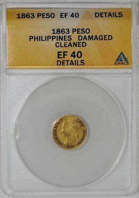 1863 Philippines Gold Peso EF40 Details ANACS
