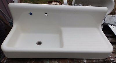 "Antique Cast Iron Porcelain 52"" Kitchen Farm Sink Drainboard Old Vtg 5343-15"