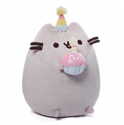 "GUND 10.5"" Plush PUSHEEN HAPPY BIRTHDAY w PINK CUPCAKE & PARTY HAT ~NEW~"