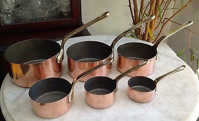 Vintage Set Of 6 Medium To Small Copper And Brass Saute Pans Saucepans Tin Lined