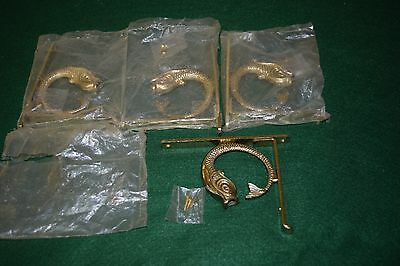 """Lot of 4 Vintage Brass Shelf Brackets with Fish / Serpent - For a 4"""" Shelf - New"""