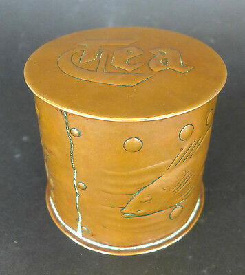 Magnificent Newlyn Copper Arts & Crafts Tea Caddy Cornish Original Condition