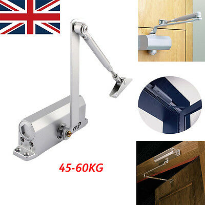 45-60KG Adjustable Heavy Duty Fire Rated Overhead Door Opener Closer Silver UK