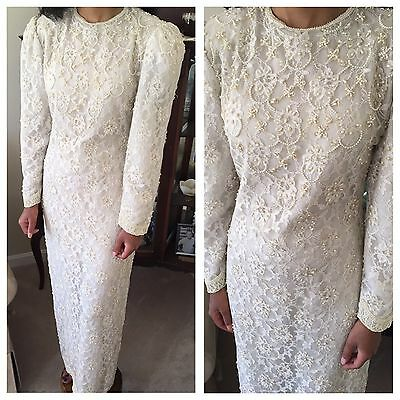 Vintage Wedding Dress Ivory Small 100% Natural Silk Long Sleeve Beaded Costume