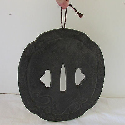 Asian Cast Iron Wall Plaque Cutouts Relief Decor Bamboo Dogwood Flowers Signed
